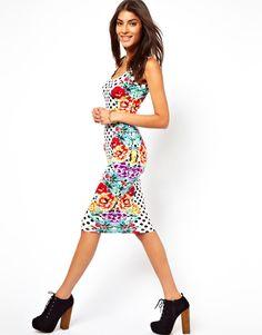 ASOS | ASOS Midi Bodycon Dress In Spot And Floral Print