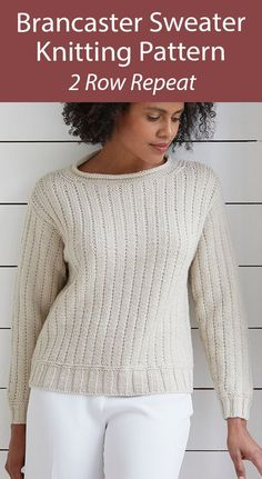 Sweater Knitting Pattern 2 Row Repeat Brancaster Sweater - Pullover that's great project for an adventurous beginner knitter, using a 2 row repeat knit and purl pattern with a rolled edge neckline. Knitted flat and seamed, the pattern is written line by line, and worked in aran weight yarn that knits up fast. Sizes: To Fit Bust: 81cm to 117cm (32in to 46in). Designed by Debbie Bliss.