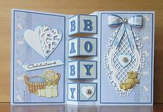 Baby Shower Cards Handmade, Greeting Cards Handmade, Fancy Fold Cards, Folded Cards, Shaped Cards, New Baby Cards, Marianne Design, Baby Kind, Card Tutorials