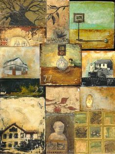 Stephanie Lee - acrylic on plaster. sampler of several small paintings