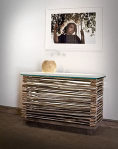 #reclaimed, #furniture, Console Table with light inside, out of split cedar by Custom by Rushton