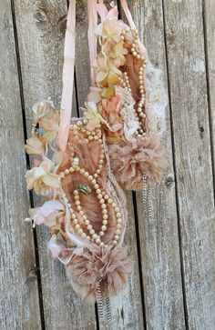 Shabby Ballet Pointe Shoes Ballet Wall Decor Shabby Chic | Etsy Pearl Necklace Vintage, Vintage Pearls, Rhinestone Jewelry, Cottage Chic, French Cottage, French Country, Dance Decorations, Wedding Decorations, Pointe Shoes
