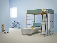 Cama alta http://www.mamidecora.com/muebles-infantiles-dotandcross.html