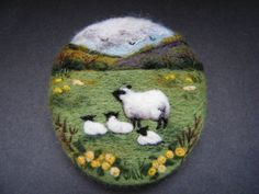 Handmade needle felted brooch/Gift     In the March Meadow      by Tracey Dunn