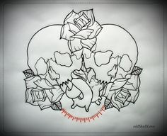 Skulls heart roses tattoo design outline oldskulllove mw -  http://tattoosnet.com/skulls-heart-roses-tattoo-design-outline-oldskulllove-mw.html  http://tattoosnet.com/wp-content/uploads/2014/03/Skulls-heart-roses-tattoo-design-outline-oldskulllove-mw.jpg