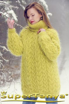 0fb03d636f Green mohair sweater cable knitted fuzzy luxury pullover by SuperTanya