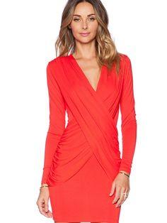 Red Bodycon V-Neck Dress