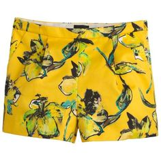 """""""J.Crew Collection Lemon Tiger Lily Short"""" ($250) found on Polyvore featuring shorts, yellow, floral printed shorts, j.crew, sport shorts, floral print shorts and j. crew shorts"""