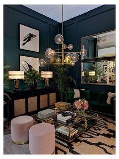Navy Living Rooms, Glam Living Room, Living Room Green, Beautiful Living Rooms, Living Room Lighting, Living Room Decor, Condo Living, Apartment Living, Living Room Color Schemes