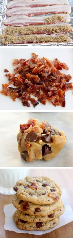 Candied Bacon Chocolate Chip Cookies      For the candied bacon:     8 slices center cut thick bacon     1/2 cup brown sugar     For the cookies:     2 1/4 cups flour     1/2 teaspoon baking soda     3/4 cup butter, melted and slightly cooled     1/2 cup white sugar     1 cup brown sugar     1 Tablespoon pure vanilla extract     1 whole egg     1 egg yolk     2 cups semi-sweet chocolate chips