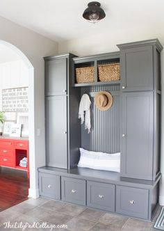 Grey painted mudroom cabinets of the LilyPad Cottage