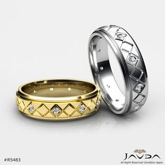 Items for sale by javdajewelry Diamond Bands, Diamond Wedding Bands, Wedding Rings, Engagement Rings Couple, Couple Rings, Mens Ring Designs, Step Edging, Gents Ring, Design Reference