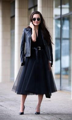 Space 46 black tulle skirt, blogger thestylemma.com, black leather jacket, all black outfit, London street style