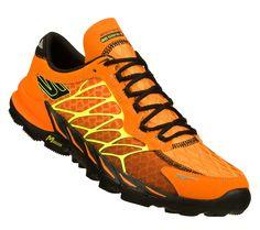 A pair of orange Skechers GObionic Trail shoes. #SKECHERSThanksPinToWin