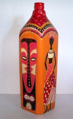 botella pintada a mano - Adornos - Casa - 797019