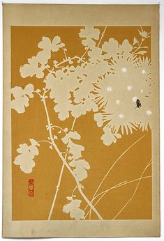 Masuichi KYŌBASHI (active early 1900s): Flowers and Insect Picture Albums, Woodblock Print, Monochrome, Insects, This Is Us, Japanese, Artwork, Artist, Flowers