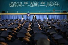 Tehran, Iran:   Iran's Supreme Leader Ayatollah Ali Khamenei arrives to deliver a speech in a meeting with military commanders on Feb. 7.