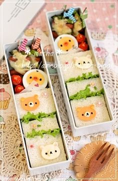 Get it done quick by just decorating the top of the sandwich. Cute Food, Yummy Food, Kawaii Cooking, Cute Bento Boxes, Kawaii Bento, Japanese Dishes, Japanese Food, Bento Recipes, Food Decoration
