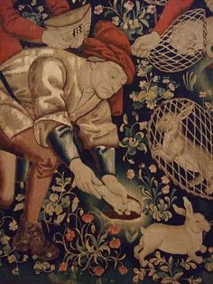 Rabbit Hunting with Ferrets Tapestry Franco-Flemish probably Tournai 1460-1470 wool silk (1)