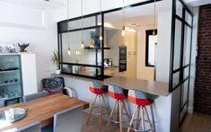 Kitchen Room Design, Home Decor Kitchen, Kitchen Interior, Home Kitchens, Semi Open Kitchen, Small Open Kitchens, Kitchen Window Bar, Asian House, Apartment Interior Design