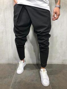 NEW Men Track Pants Cuff Trousers Skinny Slim Fit Straight Hip Hop Workout Pockets Tracksuit Casual Plain Black Grey Pantalon Long, Pantalon Slim, Cuffed Pants, Trousers, Men's Pants, Ankle Pants Mens, Indian Men Fashion, Mens Fashion, Men Street