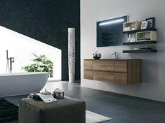 meuble de salle de bain en bois avec vasque intégrée - modèle AB 6000 et petits modules muraux en noir et blanc