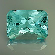 "Beautiful Aquamarine rectangle with a hint of greenish blue, very saturated. Excellent ""New Age"" cut and clean, clean, clean . 3.62 cts . 11 x 8 mm . VVS . Africa . No enhancements . $1085"