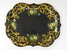 Antique Tole Tray, Hand Painted In Floral Motif www.JJamesAuctions.com