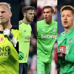 Premier League football keepers arranged in colour order