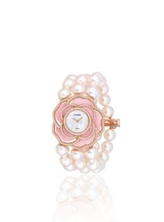 CHANEL JEWELRY WATCHES WATCH IN 18K PINK GOLD, CULTURED PEARLS, OPAL AND DIAMONDS