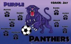 Purple Panthers B54753  digitally printed vinyl soccer sports team banner. Made in the USA and shipped fast by BannersUSA.  You can easily create a similar banner using our Live Designer where you can manipulate ALL of the elements of ANY template.  You can change colors, add/change/remove text and graphics and resize the elements of your design, making it completely your own creation.