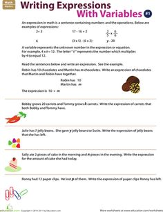 math worksheet : writing algebraic expressions  algebraic expressions worksheets  : Math Expressions Worksheets
