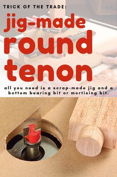 You can make round tenons easily with this scrap-made jig and a bottom-bearing pattern bit or mortising bit. Woodworking Jigsaw, Woodworking Hand Tools, Woodworking Techniques, Woodworking Furniture, Woodworking Shop, Woodworking Crafts, Woodworking Plans, Woodworking Videos, Woodworking Jointer