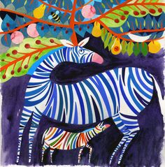 Slavka Kolesar - LE NOM DE L'ARBRE Abstract Animal Art, Zebra Pictures, Zebra Art, Colorful Artwork, Zebras, Find Art, Illustrators, Kenya, Painting