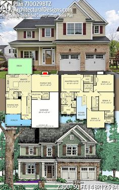 Plan Shingle-Embellished Country Cottage House Plan - Architectural Designs Home Plan gives you 4 bedrooms, baths and sq. Sims 4 House Plans, Two Story House Plans, Family House Plans, Cottage House Plans, Dream House Plans, Cottage Homes, House Floor Plans, The Plan, How To Plan