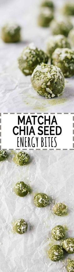 Matcha Chia Seed Energy Bites! Vegan, vegetarian, gluten-free, and refined sugar free. Super easy to make and perfect for taking a healthy snack on-the-go!