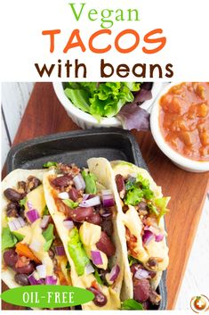 These fresh vegan tacos are loaded with beans, salsa, crispy veggies, and drizzled with creamy cheese sauce. They are a rainbow of color and deliciously satisfying! #vegantacos #beantacos Vegan Meal Prep, Vegan Dinner Recipes, Vegan Dinners, Vegan Recipes Easy, Whole Food Recipes, Cooking Recipes, Diet Recipes, Vegetable Taco Recipe, Vegan Starters