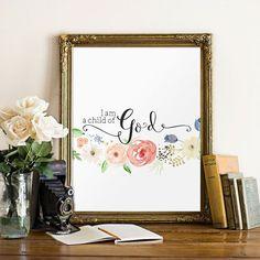 Baby girl nursery quote print, Bible verse art, Nursery wall art print, I am a child of God print, Instant download, Wall art BD576