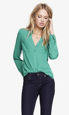 The Convertible Sleeve Portofino Shirt in Green from Express $29.94 December 2014