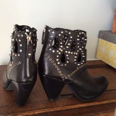 Black Studded Leather Booties by J.Renee Get ready for a night on the town!  Super Sexy Studded Ankle Boots.  Cut-out details at the ankle.  Genuine Leather Upper.  Rubber sole.  Worn twice.  Size 8. J. Renee Shoes Ankle Boots & Booties