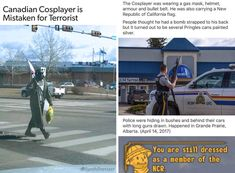 That one time Canadian police mistaken a Fallout Cosplayer for a terrorist! Fallout Funny, Fallout Fan Art, Fallout 4 Secrets, Video Game Memes, Video Games, Fallout Cosplay, Fallout New Vegas, Memes Of The Day, Most Popular Memes