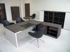 white and espresso laminate modern designer desk