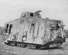 A German Tank of WW1. These monsters with a crew of 16 from 6 corps were first encountered by Australian troops at Villers-Bretoneux.