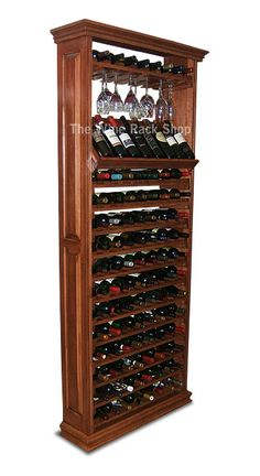 112 Bottle Maple Wine Rack Cabinet With Bottle Display. Cherry Finish.