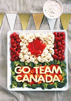 Team Canada Veggie and Cheese Platter—Fuel up for a fun night of cheering on Team Canada with a beautiful, colourful and patriotic appetizer tray. Veggie Platters, Veggie Tray, Cheese Platters, Canada Day 150, Canada Canada, Super Bowl, Canada Day Fireworks, Canada Day Crafts, Canada Day Party