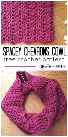 The Spacey Chevrons Cowl Free Crochet Pattern from The Unraveled Mitten. Crochet this  easy not so basic everyday accessory with a modern chevron pattern today!