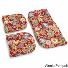 Blazing Needles Floral/ Stripe Outdoor Furniture Cushions (Set Of 3)  (Alenia Pompei