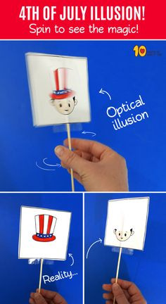 of July Optical Illusion Easy Arts And Crafts, Crafts To Do, Crafts For Kids, Paper Crafts, Art Optical, Optical Illusions, Experiment, Happy Birthday Sister, Science Activities For Kids