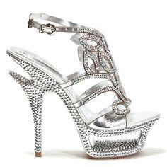 Dazzle Open Toe Platform Jeweled #Pump Stiletto #Heels