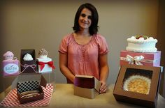 Robbye Link from Nashville Wraps demonstrates cute Bakery Box ideas! #bakeryboxes #cupcakeboxes #cakeboxes http://www.nashvillewraps.com/candy-boxes/bakery-cupcake-boxes/c-048904.html